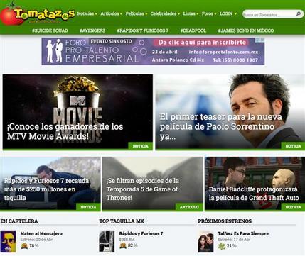 Una vista de la página Tomatazos.com, la versión en español del sitio de reseñas Rotten Tomatoes. El sitio fue lanzado desde México el 6 de abril de 2015 y planea expandirse hacia toda latinoamérica. (Tomatazos.com via AP)